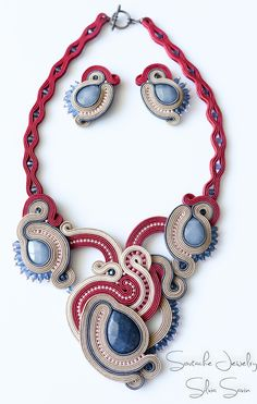 Red/ Beige/ Grey/ Blue Handmade necklace and earrings