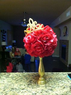 Beauty and the Beast Centerpieces | Beauty and the Beast inspired rose topiary