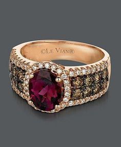 Le Vian Raspberry Rhodolite Garnet (1-7/8 ct. Chocolate Diamond (3/4 ct. t.w.) and White Diamond Ring in 14k Rose Gold