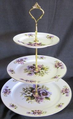 3-Tier Cake Stand Tidbit Tray 10, 8 and 6 inch Bone China Plates Brass Finish Fittings Sheltonian ~ England