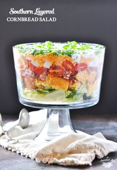 Southern Layered Cornbread Salad | Salad Recipes | Salads | Potluck Recipes | Potluck Dishes | Potluck Ideas | Side Dishes | Picnic Food | Picnic Ideas