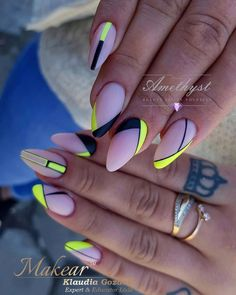 nails neon / nails neon _ nails neon green _ nails neon pink _ nails neon yellow _ nails neon colors _ nails neon orange _ nails neon sign _ nails neon tips Neon Yellow Nails, Neon Nail Art, Neon Nails, Cute Acrylic Nails, Swag Nails, Cute Nails, Pretty Nails, Pastel Yellow, Yellow Nails Design