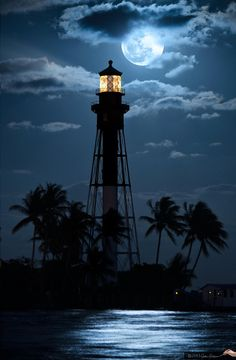 Photograph Hillsboro Lighthouse Moonrise 2013 by Justin Kelefas on 500px