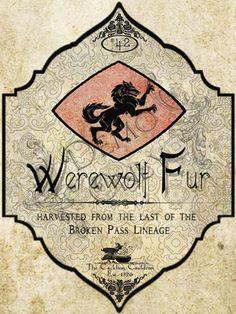 The Cackling Cauldron ~ Werewolf Fur Label
