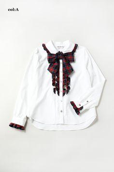 着丈 62cm バスト98cm表地 ローン   綿100%別布 チェックツイル(フリル、リボン)   綿100%CF釦あき 袖口カフス釦あき 取り外しリボン付き上質でなめらかな白地と、美しい発色で柔らかい