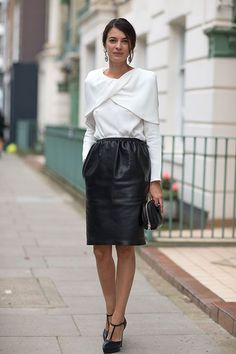 White blouse, leather pencil skirt