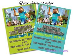Digital Minecraft party invitations at our Etsy store several styles are available!