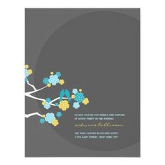fatfatin Cherry Blossoms Love Birds Reception Card Announcements