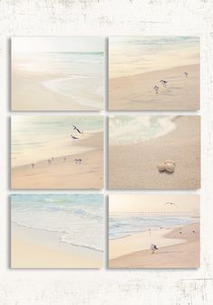 Soothing Neutral Beach Set of Six Prints. Coastal Wall Art for your Bathroom or Bedroom. Beautiful Beach Wall Art in soothing neutral tones.