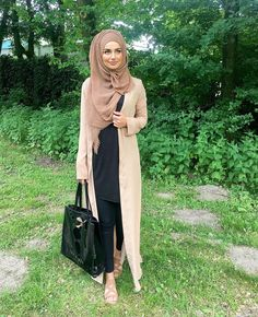 Long beige open cardigan and hijab with black tunic and pants - check out: Esma <3