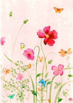 springy illustration by chris chun Watercolour Painting, Watercolor Flowers, Painting & Drawing, Watercolors, Art Floral, Art Et Illustration, Painting Inspiration, Flower Art, Art Drawings