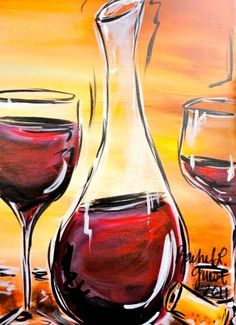 Our BYOB instructional painting classes offer a FUN night out. Wine Painting, Easy Canvas Painting, Easy Paintings, Watercolor Paintings, Wine And Canvas, Wine Art, Paint And Sip, Pictures To Paint, Painting Inspiration