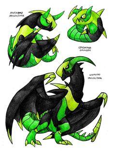 Cerestros —> Anfabro —> Wyvrusko  Dragon, Dragon / Dark, Dragon / Dark  Source.  Artist: darksilvania