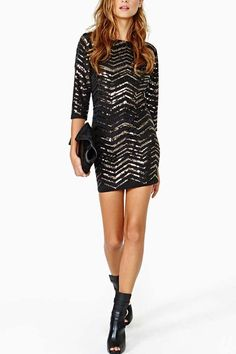7c6d15cc2064 Black Gold Zig Zag Sequined Slit Back Dress @ Mini Dresses,Sexy Mini Dresses ,