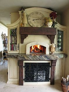 An old pizza oven is incorporated into a kitchen remodeling project. Wow!