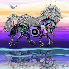 Here is a young colt walking on the beach. By his side is his guardian Spirit Horse and in the sky, his totem hawk follows.  This painting is a perfect guardian for any room in your home. In Feng Shui, the purples are master colors and can be placed anywhere in the home to increase the Chi and add protection.  25% of profit from sales go to the Chilly Pepper Miracle Mustang Equine Rescue.. http://chillypepper.weebly.com/