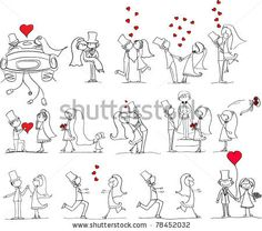 stock vector : cartoon wedding pictures