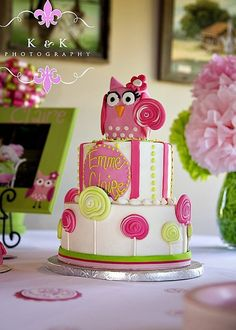 Owl Birthday Cake kid-korner