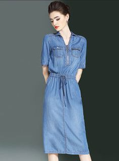 Denim Lapel Gathered Waist Slit A Line Dress Jumpsuit Dress, Shirt Dress, Jean Dresses, Fashion Online, Women's Fashion, Business Dresses, Vintage Dresses, Jumpsuits, Fashion Dresses