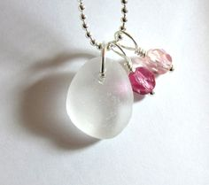Sea Glass Jewelry    Pink by GardenLeafDesign on Etsy, $22.00