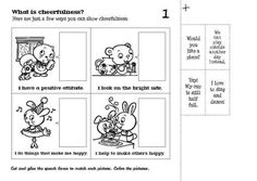 Cut and glue the speech boxes to match each picture. Color the pictures.