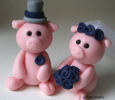 Custom Piggy Wedding Cake Topper by fliepsiebieps on Etsy, $52.00. You can customize the colors so the pigs are wearing your wedding colors!