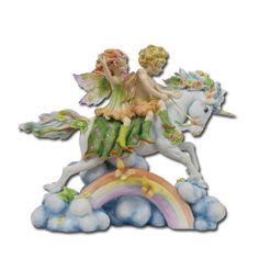 FIGURINE Rainbow Fairies on Unicorn Jody Bergsma
