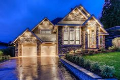 Love the lights and the stone work on the outside of the house!