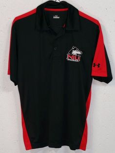 Under Armour Mens NIU Huskies Embroidered Black Short Sleeve Polo Shirt Small S #UnderArmour #PoloRugby