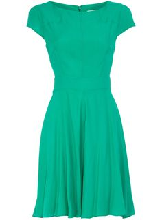 Green full circle dress with cap sleeve detail. Wearing length 92cm. 100 polyester. Machine washable.