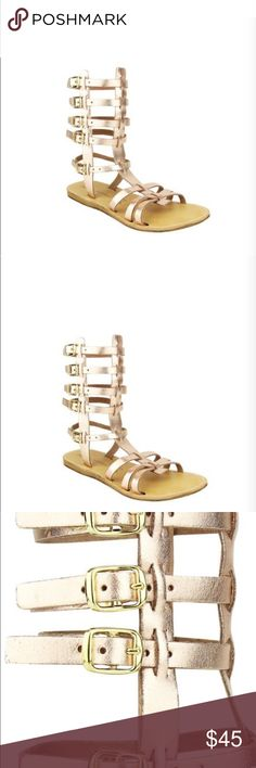 """Naughty Monkey Rosegold Gladiator Sandals Channel your inner Greek Goddess with these rose gold Gladiator Naughty Monkey sandals made in Greece. 7 1/2"""" Height on Ankle Leather uppers flat sandals buckle up 21819 summer sandals festival Coachella Beach Greek Shoes Sandals Naughty Monkey Shoes Sandals"""