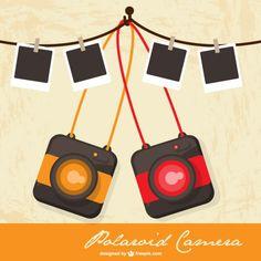 Polaroid camera retro vector