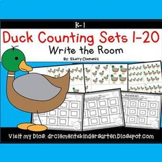 50% off for 24 hrs~(until 11:59 PM EST 03/22/17) Ducks Write the Room (Counting Sets 1-20) This resource includes four pages of numbered cards in color with a total of 20 cards. Each numbered card has a set of ducks to represent each number 1-20. Teachers should copy the cards on cardstock (for durability and saving for future years) or plain paper, laminate (if desired), cut apart, and then post the cards around the room.
