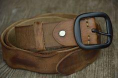 Men's Belt Women's Belt Tan Cowhide Leather Belt Distressed Soft Genuine Leather Belt Boho Belt by SherryJewelry, $27.00