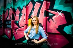 High school senior photo of girl with graffiti. Copyright Canazzi Photographics - Vancouver, WA.