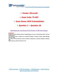 74-697 Exam Dumps with PDF and VCE Download (1-20)