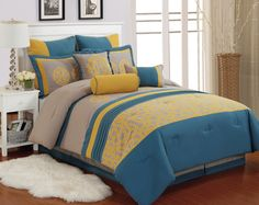 Blue And Yellow Comforter Sets Yellow And Gray Comforter, Yellow Bedding Sets, Elegant Comforter Sets, Yellow Bedspread, King Size Comforter Sets, Grey Bedding, Navy Bed, Sofa Bed Set, Quilts