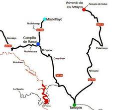 Mapa de la ruta por los pueblos de la arquitectura negra, Guadalajara