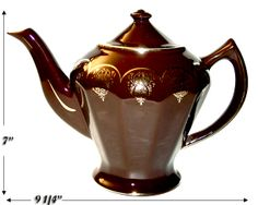 Antique and Collectible Teapots | Details about Hall China Albany Mahogany Standard Gold Teapot