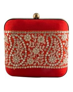 Gold Embroidered Orange Clutch orangegoldTPS49