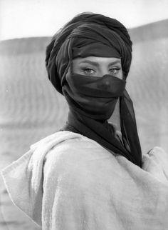 Sophia Loren veiled as a Bedouin woman