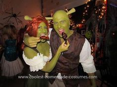 Homemade Shrek and Fiona Couple Costume... This website is the Pinterest of costumes