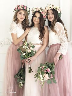 Blush Palette Tulle Bridesmaids Separates, Long Blush Tulle Waterfall Bridesmaids Skirts, Blush Prom Dresses - Blush Palette Bridesmaids Lace Dress, Long Blush Bridesmaids Skirts, Lace Crop Top and Tulle skirt - Blush Bridesmaid Dresses Long, Tulle Skirt Bridesmaid, Bridesmaid Separates, Blush Prom Dress, Lace Bridesmaid Dresses, Tulle Dress, Lace Dress, Prom Dresses, Dress Long