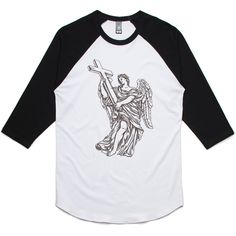 theIndie Angel with a Cross 3/4-Sleeve Raglan Baseball T-Shirt
