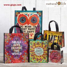 En www.giujo.com,   llegaron  las bolsas Ecológicas de Natural Life, son muy resistentes y diseños con mensajes, felices