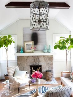 Fiddle Leaf Fig Flanking a Fireplace