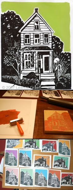 Etsy Printmaker Interview: Leanne Graeff – as part of Hawk's lesson plans … - Architecture Ideas 7th Grade Art, Linoprint, Stamp Printing, Middle School Art, Tampons, Linocut Prints, Art Plastique, Teaching Art, Elementary Art