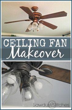 Fan Makeover - An Easy DIY Ceiling Fan Makeover Tutorial Fan Makeover Makeover Fan Light Fixtures, Painting Light Fixtures, Home Projects, Projects To Try, Furniture Projects, Diy Furniture, Ceiling Fan Makeover, Ceiling Fan Redo, Ceiling Ideas