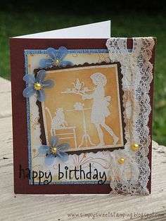 Made with Hero Arts CL148 sentiment, k5232 Dot Flourish Border and F5408 Teatime Silhouette.    Happy Friday! Have a great weekend :)    www.simplysweetstamping.blogspot.com     So You Want To Be A Picker? Online Course -CLICK ON THE PICTURE ABOVE ^^^