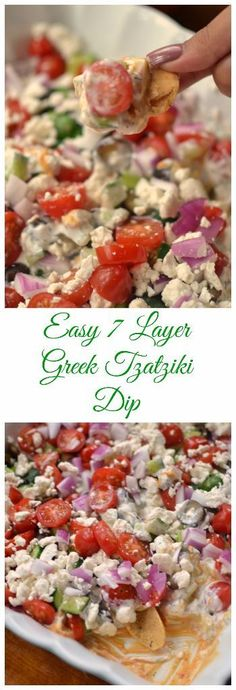 This beautiful Easy 7 Layer Greek Tzatziki Dip is amazing. It is one of my newest recipes but it is quickly becoming a family favorite. It is layered with hummus, tzatziki sauce, cucumbers, tomatoes, black olives, red onions and feta cheese. It is a show stopper and tastes amazing!!